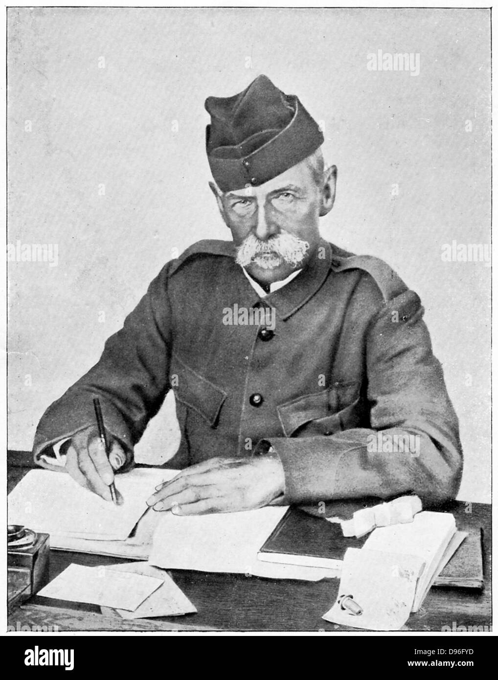Frederick Sleigh Roberts  (1832-1914) English soldier. Field Marshal 1895. As commander-in-chief in the field, writing - Stock Image