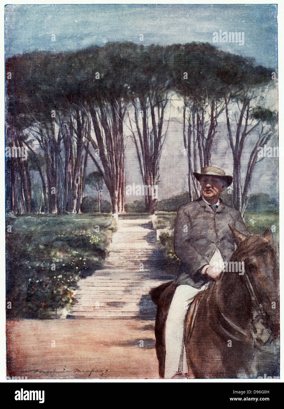 Cecil John Rhodes(1852-1902) English-born South African statesman. Rhodes riding in the grounds of Groote Schuur. - Stock Image