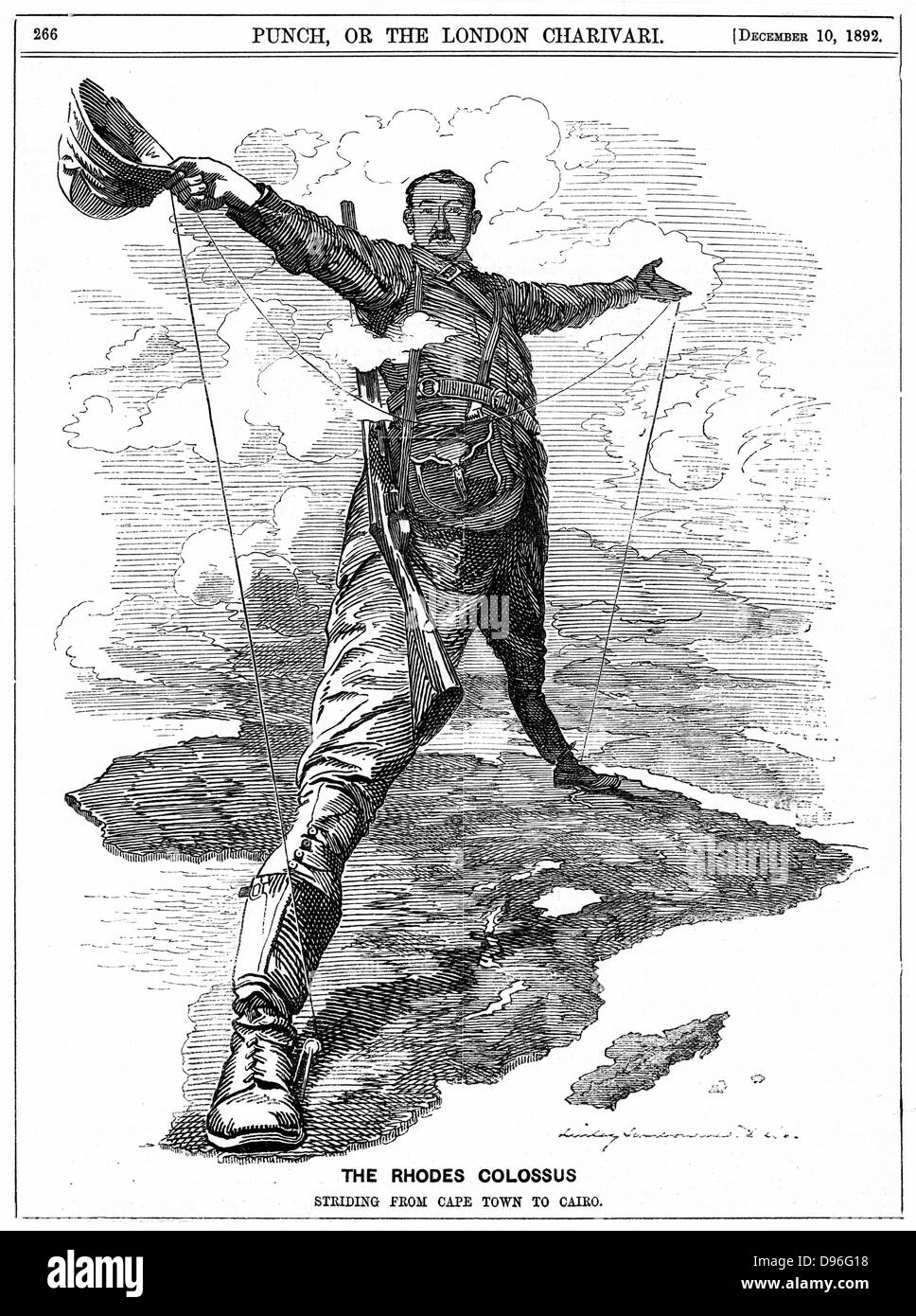 Cecil John Rhodes (1852-1902) English-born South African statesman. The Rhodes Colossus striding from Cape Town - Stock Image