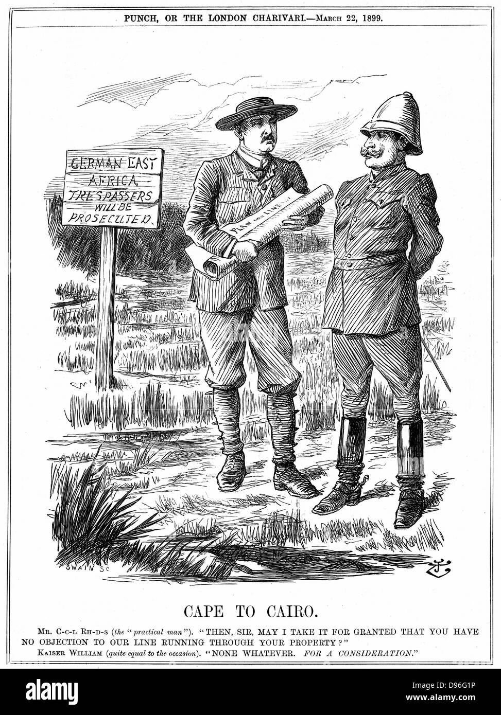 Cecil John Rhodes (1852-1902) English-born South African statesman, asking the German emperor for permission to - Stock Image