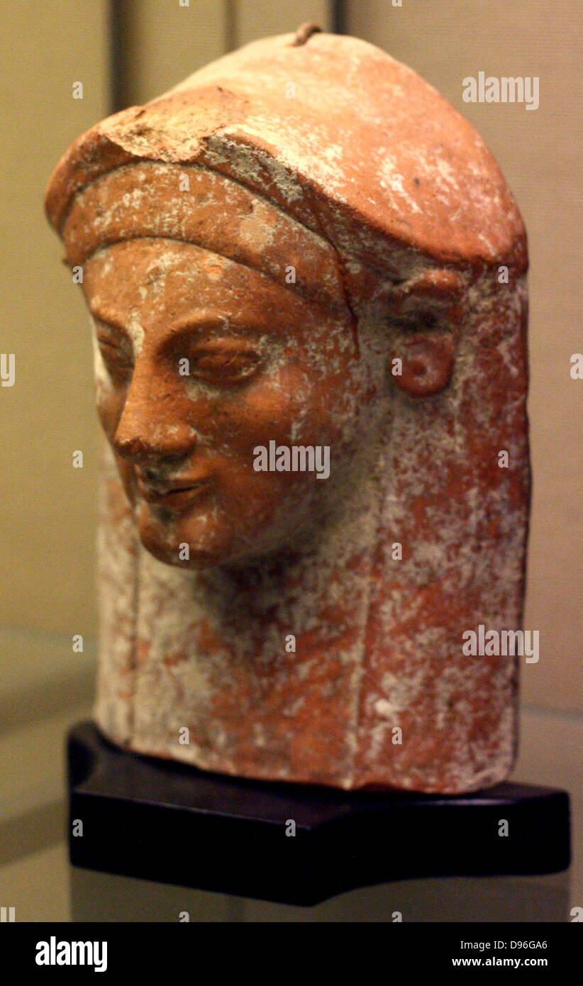 Terracotta protome in the form of a woman's head. From a tomb in the Fikellura cemetery of Kamiros, Rhodes Made Stock Photo