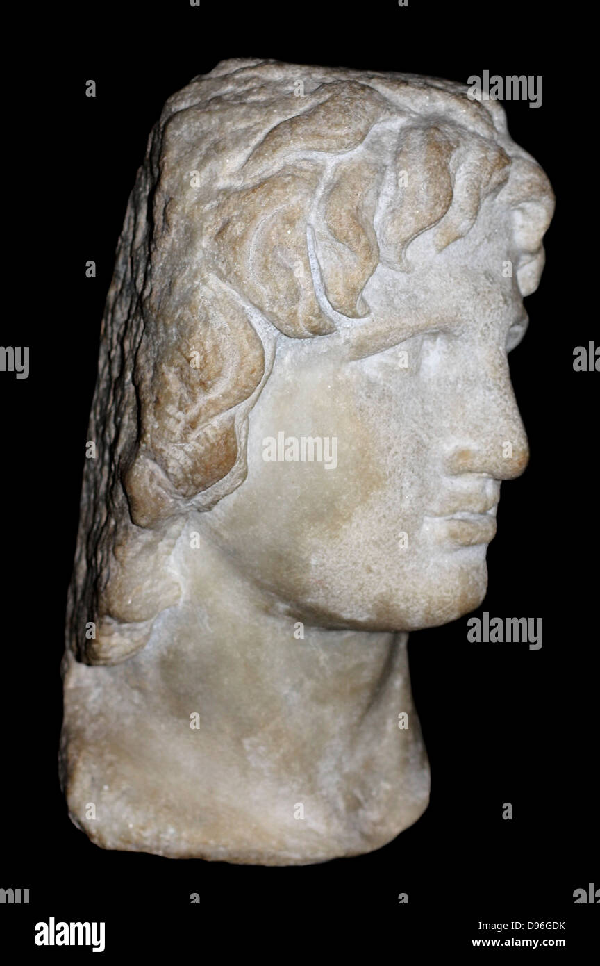 Portrait sculpture of Alexander the Great. Made of marble, said to be from Alexandria. Greek, 2nd-1st century BC. - Stock Image
