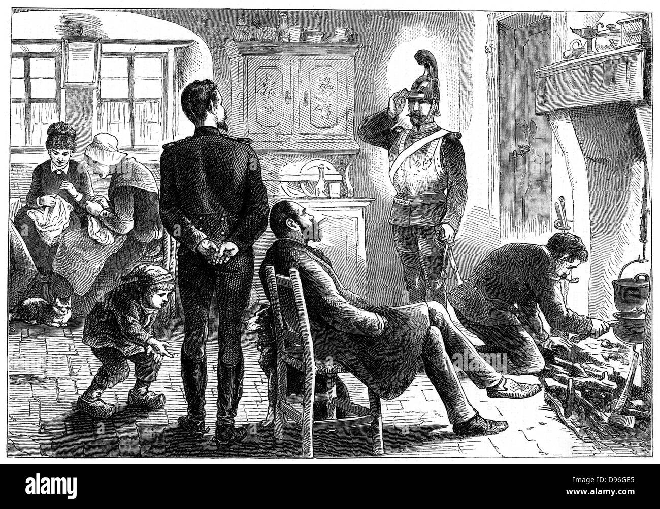 Franco-Prussian War 1870-1871: In Possession. Prussian officers billeted on a French family, December 1871. Engraving - Stock Image