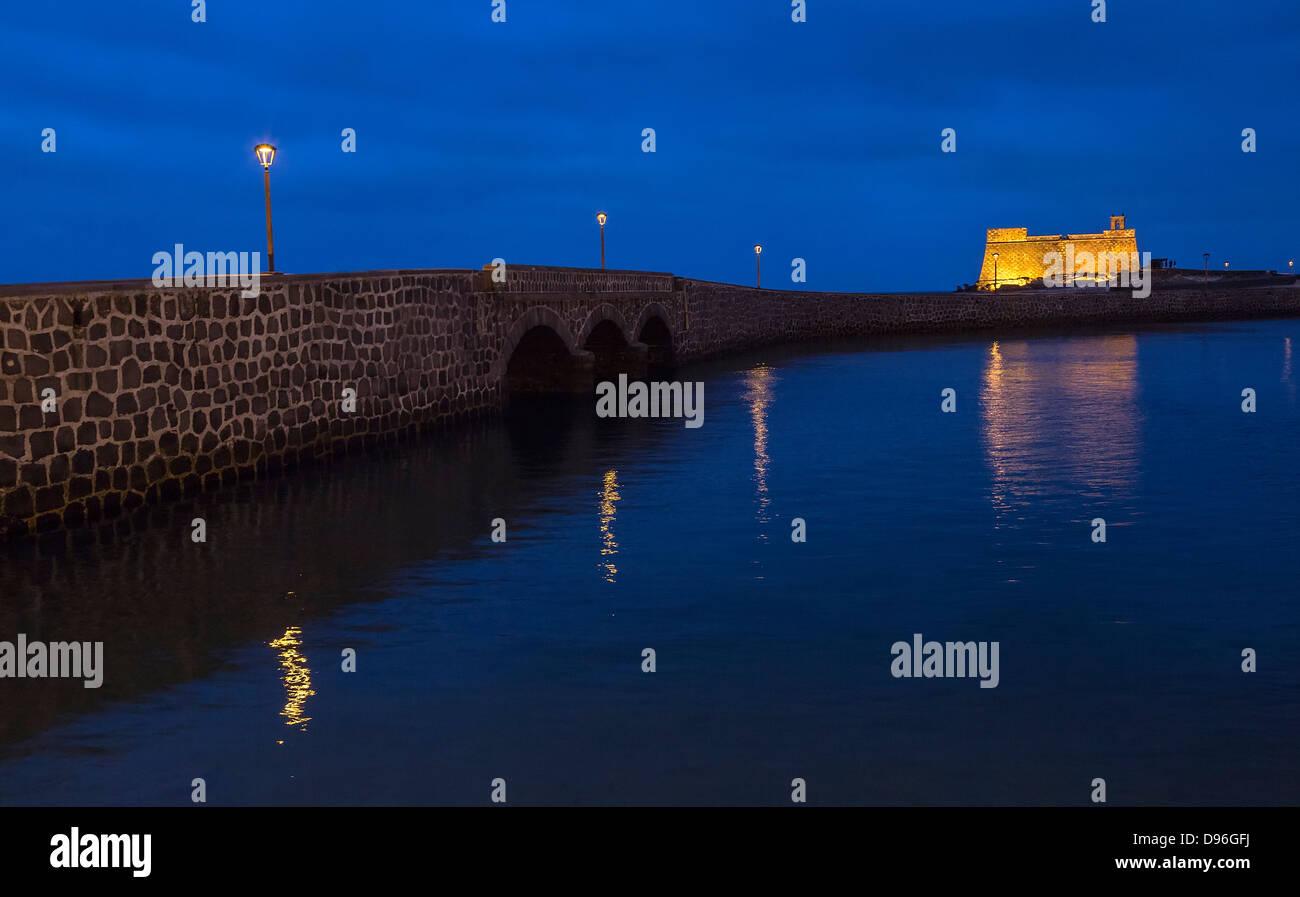 Bridge to Castillo de San Gabriel, Arrecife, Lanzarote, Canary Islands, Spain - Stock Image