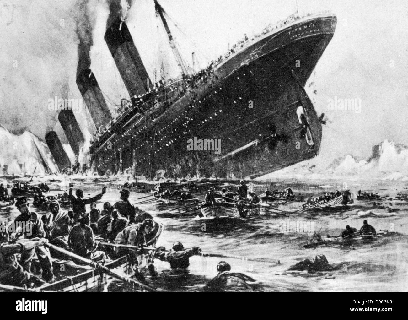 The loss of SS Titanic, 14 April 1912: The lifeboats. All that was left of the greatest ship in the world - the - Stock Image