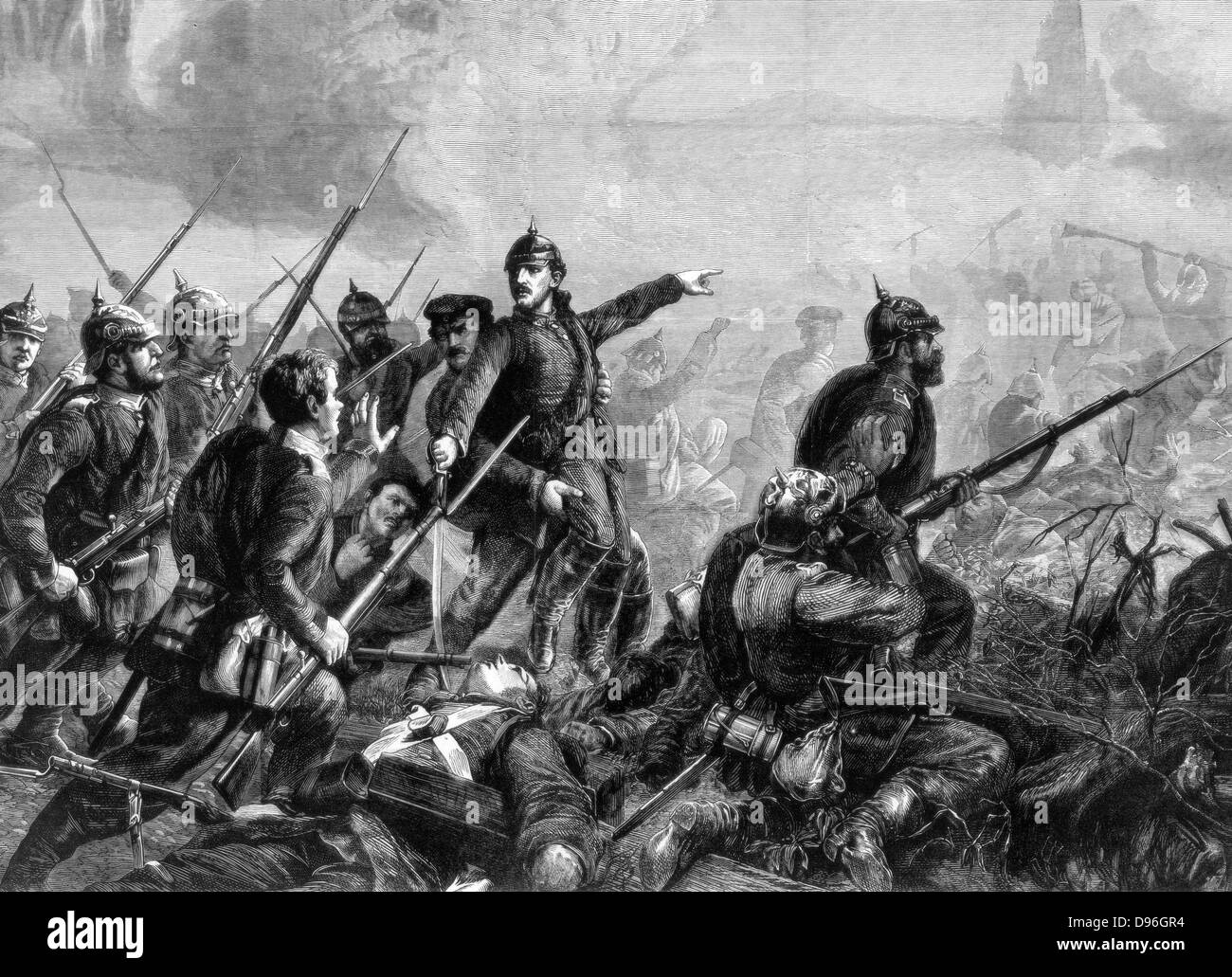 Franco-Prussian War 1870-1871: Prussian Infantry at the Charge, 1870. From 'The Graphic'.  (London, 3 September - Stock Image