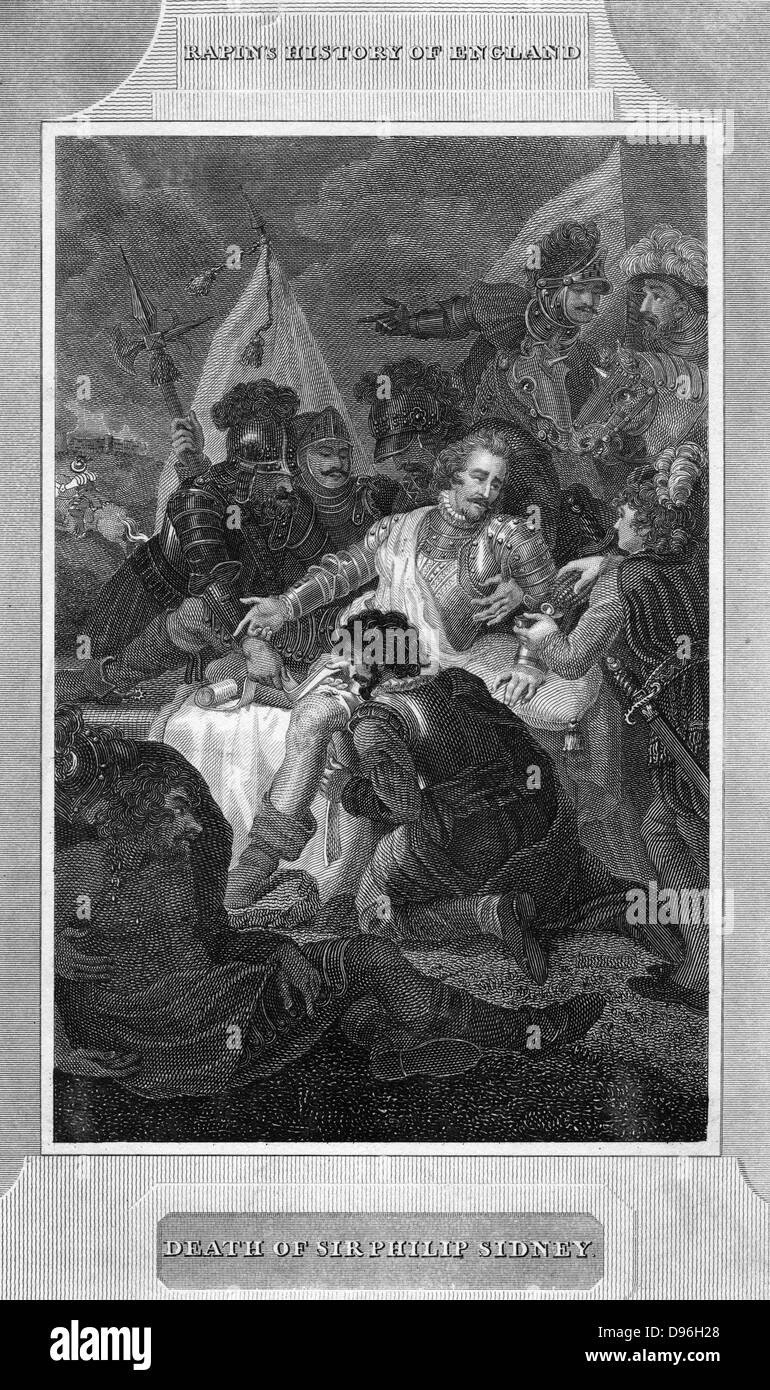 Death of Sir Philip Sydney'. Philip Sidney (1554-1586) English soldier, statesman poet, and patron of poets: - Stock Image