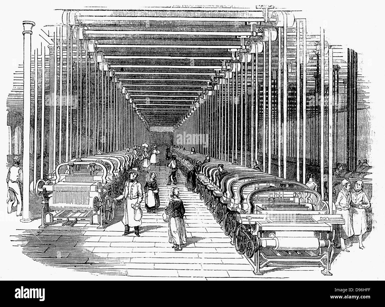 Weaving shed fitted rows with power looms driven by belt and shafting. Wood engraving c1840 - Stock Image