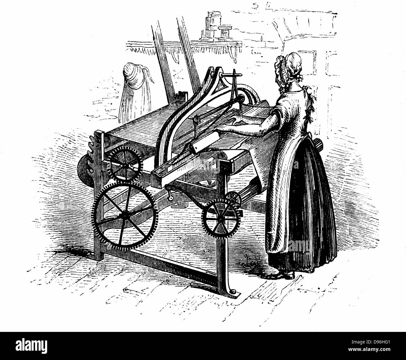 Power loom for weaving cotton. Model illustrated is that invented by Roberts (c1815-20). Belting connecting to drive - Stock Image