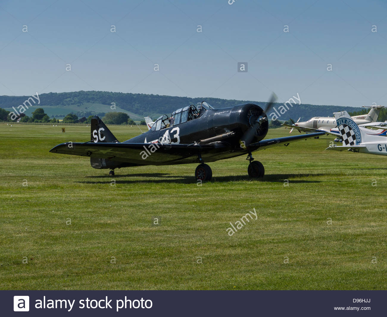 Black Harvard Taxiing Goodwood Sussex England - Stock Image