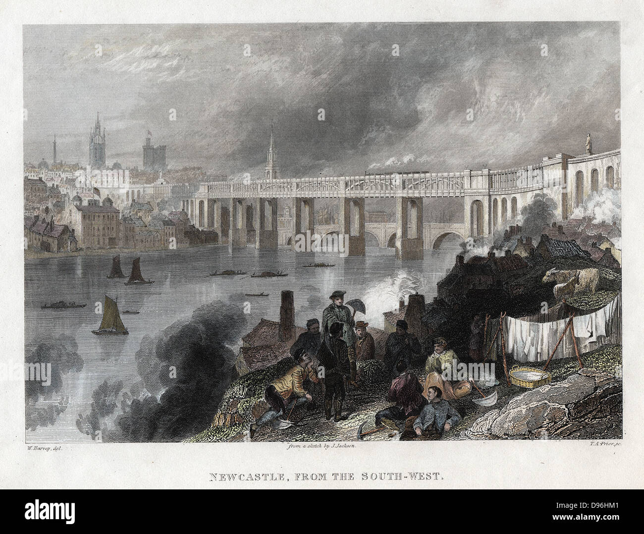 High Level Bridge over the Tyne at Newcastle, built by Robert Stephenson between 1846 and 1849. Bow-string girder, - Stock Image