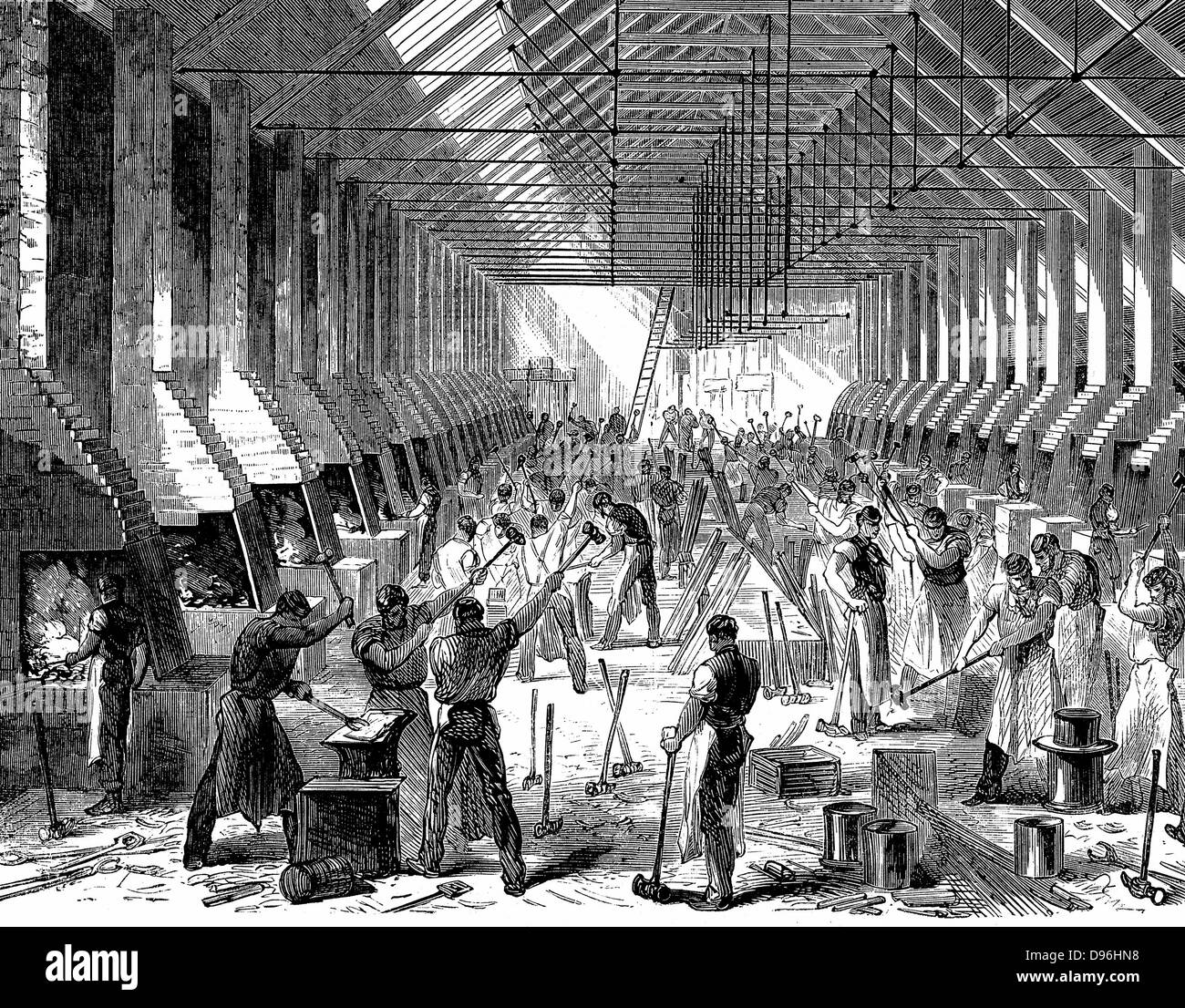 The Railway Carriage Company's works, Oldbury. The forge, showing mass production of components at about 40 - Stock Image