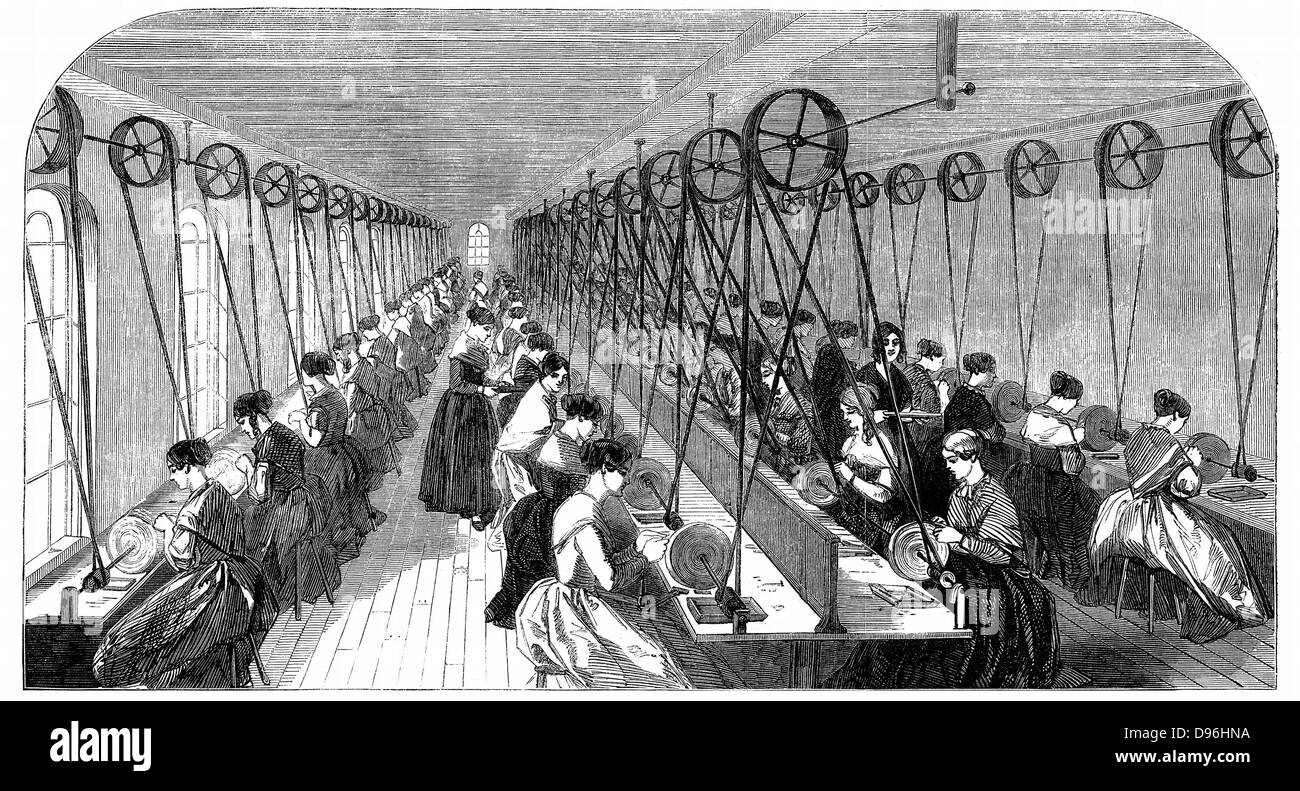 Pen grinding room: Hanks, Wells & Co's factory, Birmingham.  More than 50 women sit at individual grindstones - Stock Image