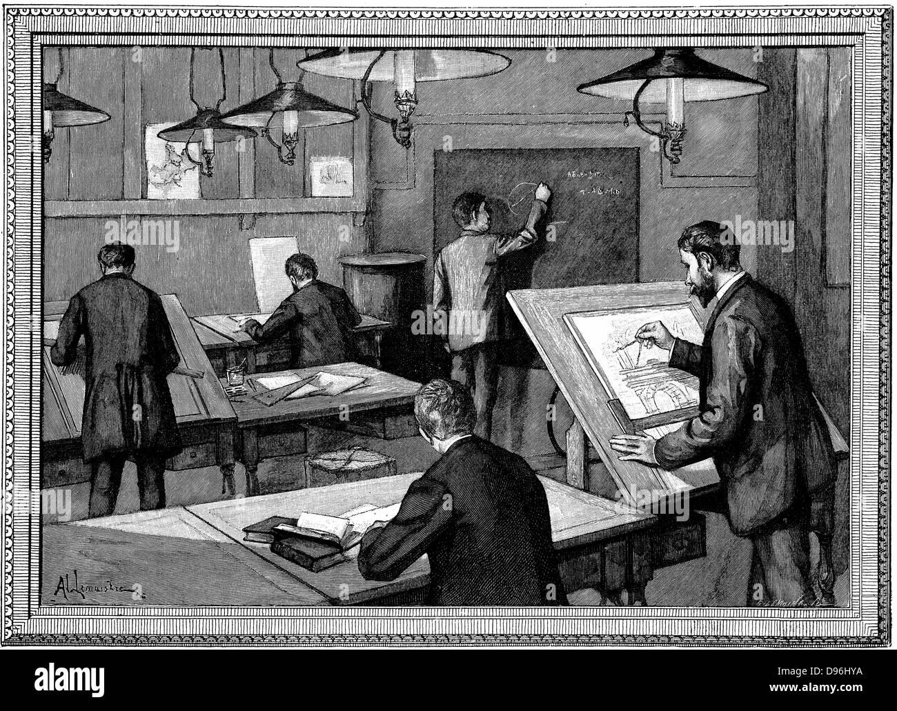 Ecole des Ponts-et-Chaussees, Paris.  Students at their studies.   Wood engraving, Paris, 1894 - Stock Image