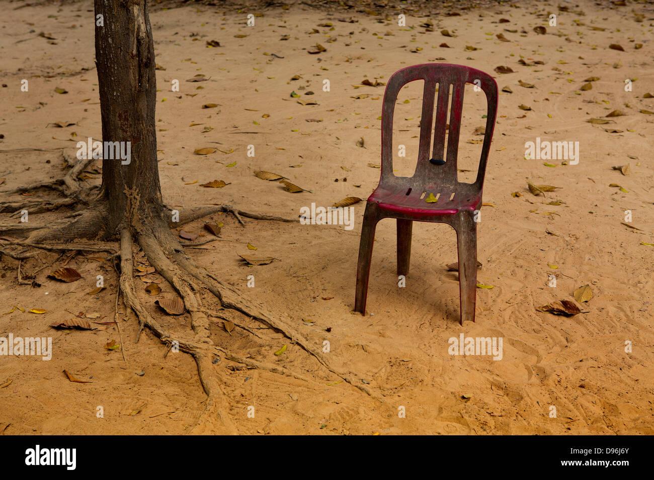 Vendor's chair, Angkor temple complex, Cambodia - Stock Image