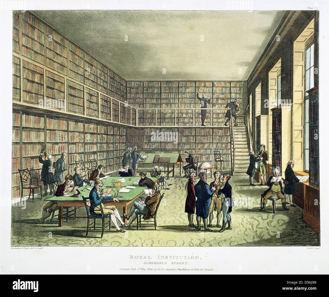 Library of the Royal Institution, Albermarle Street, London. From 'The Microcosm of London', Ackermann, - Stock Image