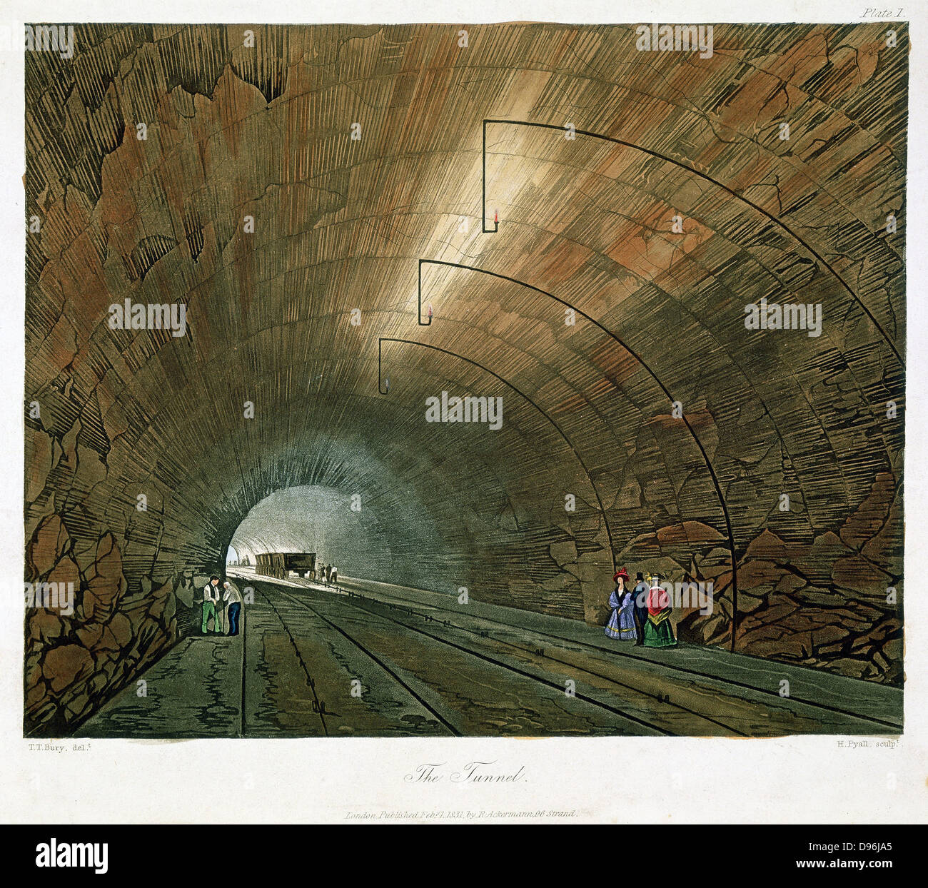 The Tunnel. From T T Bury 'Coloured Views on the Liverpool and Manchester Railway', 1831. Engineer: George - Stock Image