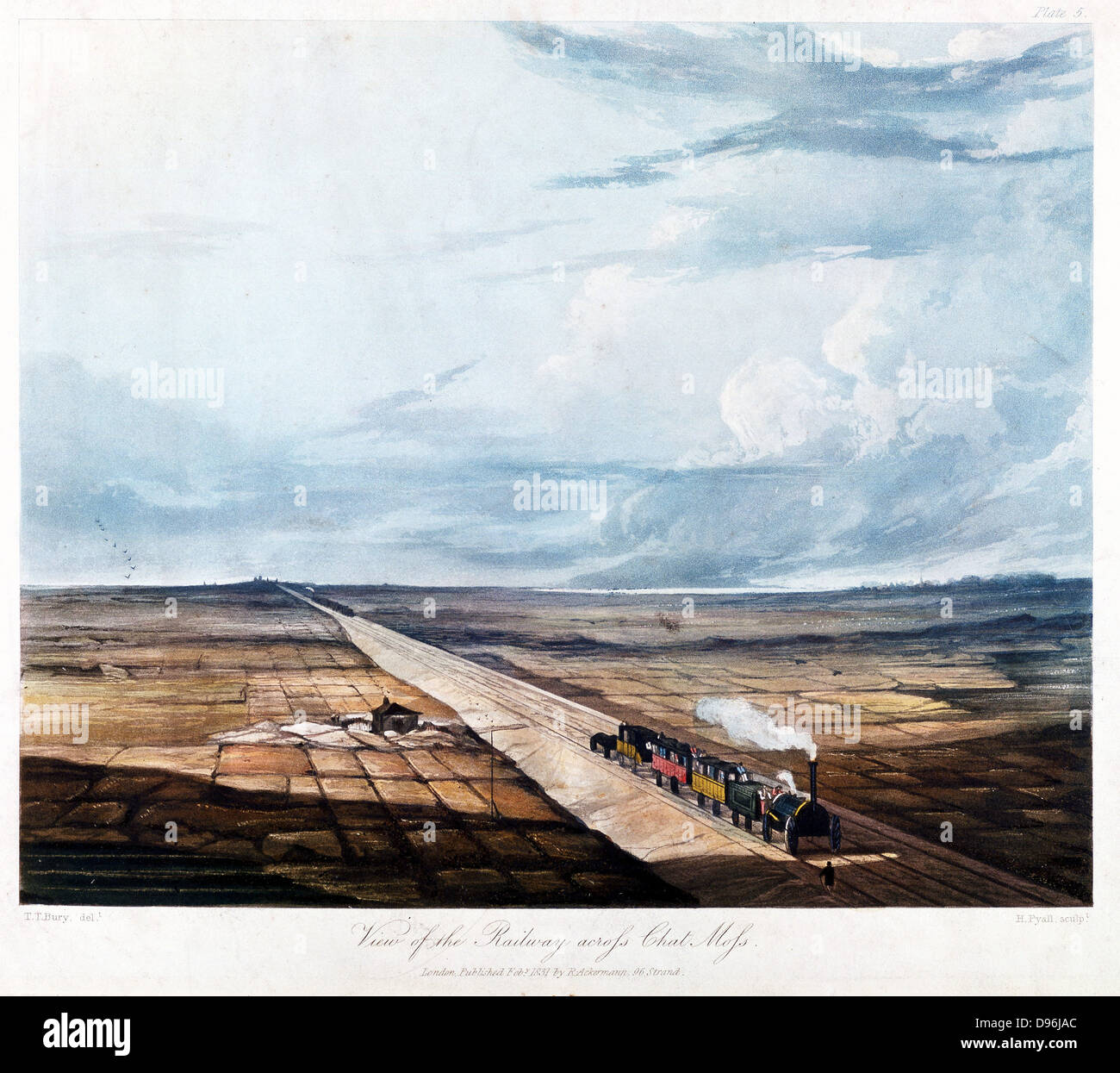 Train Crossing Chat Moss Bog. From T T Bury 'Coloured Views on the Liverpool and Manchester Railway', 1831. - Stock Image