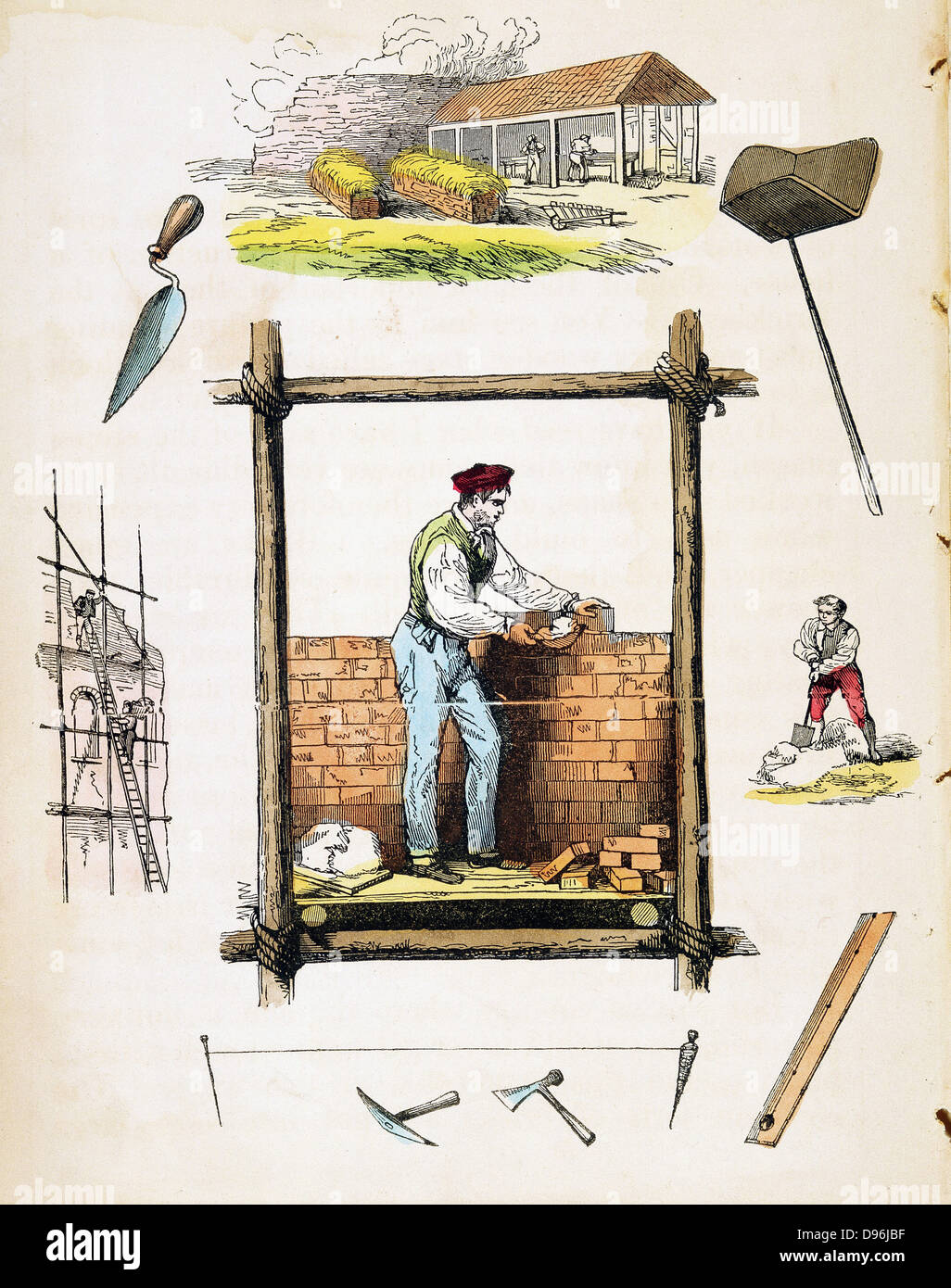 Bricklayer working on wooden scaffold. Top: Brickyard. Right: Miixing mortar. Hand-coloured wood engraving from - Stock Image