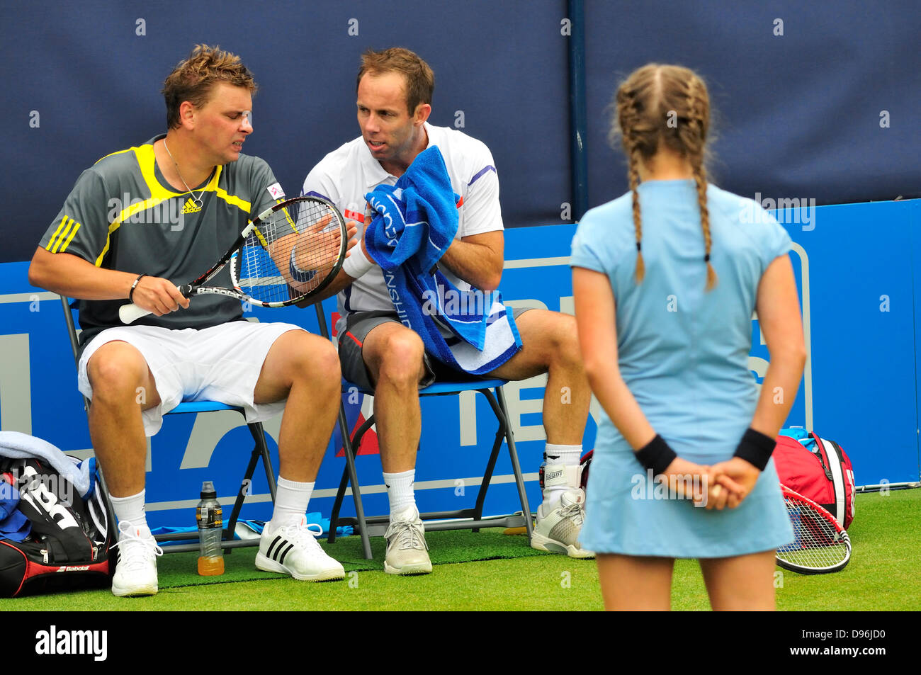 Paul Hanley (Australia) and Marcin Matkowski (Poland) in a doubles match at the Aegon Tennis Championship, Queens - Stock Image