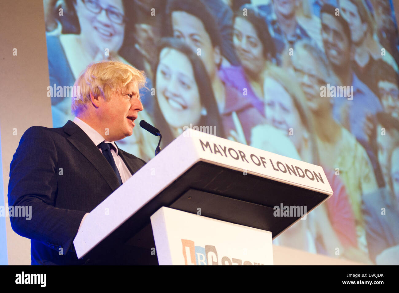 London, UK. 12th June 2013. The Mayor of London Boris Johnson answers questions of Londoners about the capital at Stock Photo