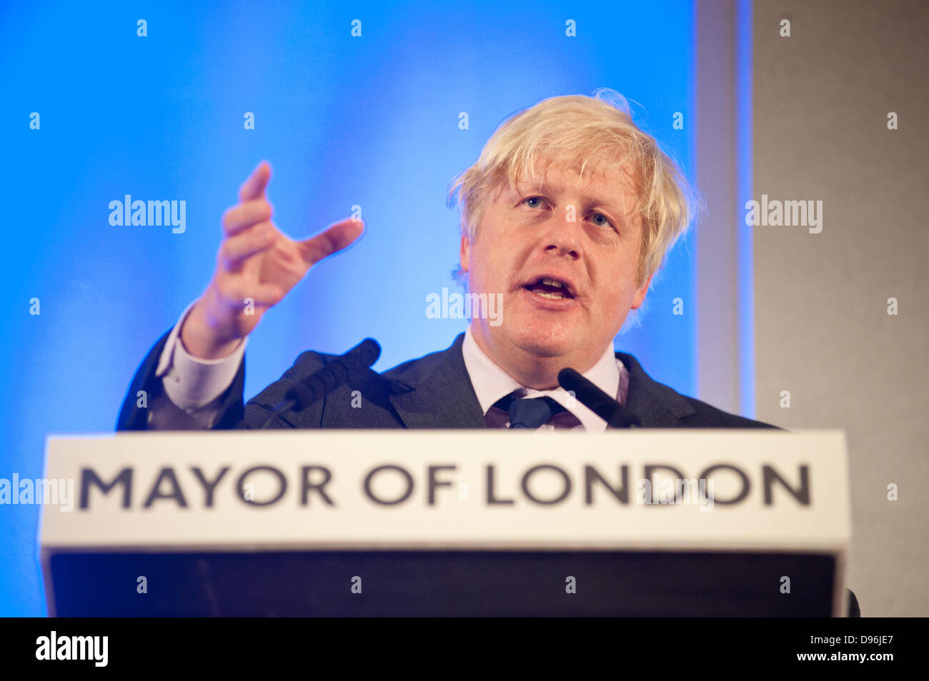 London, UK. 12th June 2013. The Mayor of London Boris Johnson answers questions of Londoners about the capital at - Stock Image