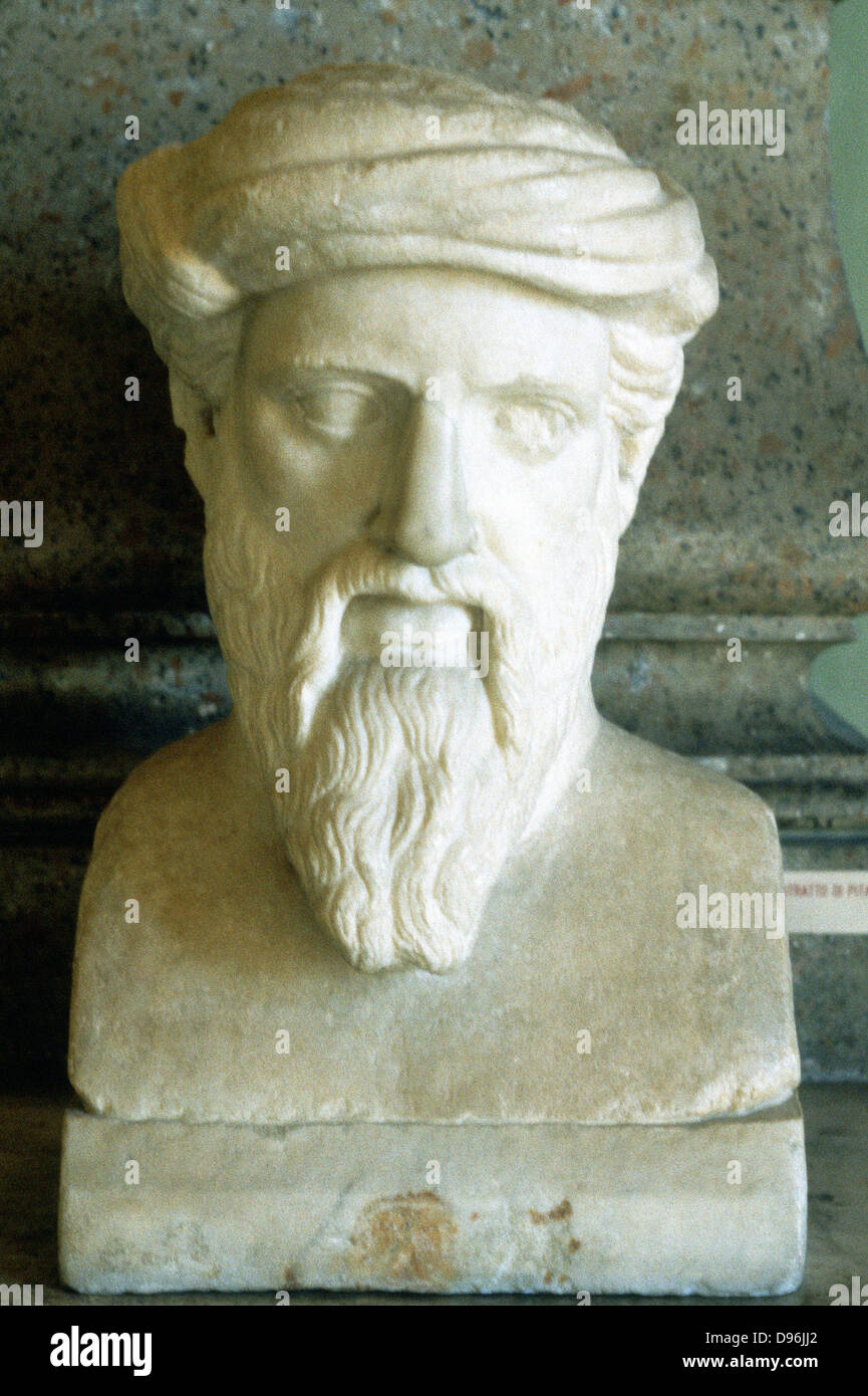 Pythagoras (6th century BC) Ancient Greek mathematician and philosopher. Portrait bust - Stock Image