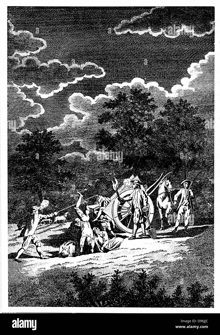Burying victims of the Plague of London (1665) at night in multiple graves. Two of men are smoking pipes, partly Stock Photo