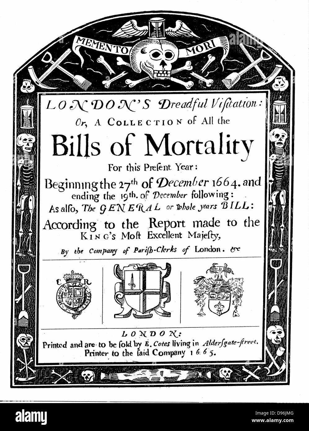Title page of mortality bill for London for 1664/5, covering part of the period of the Great Plague. John Graunt Stock Photo