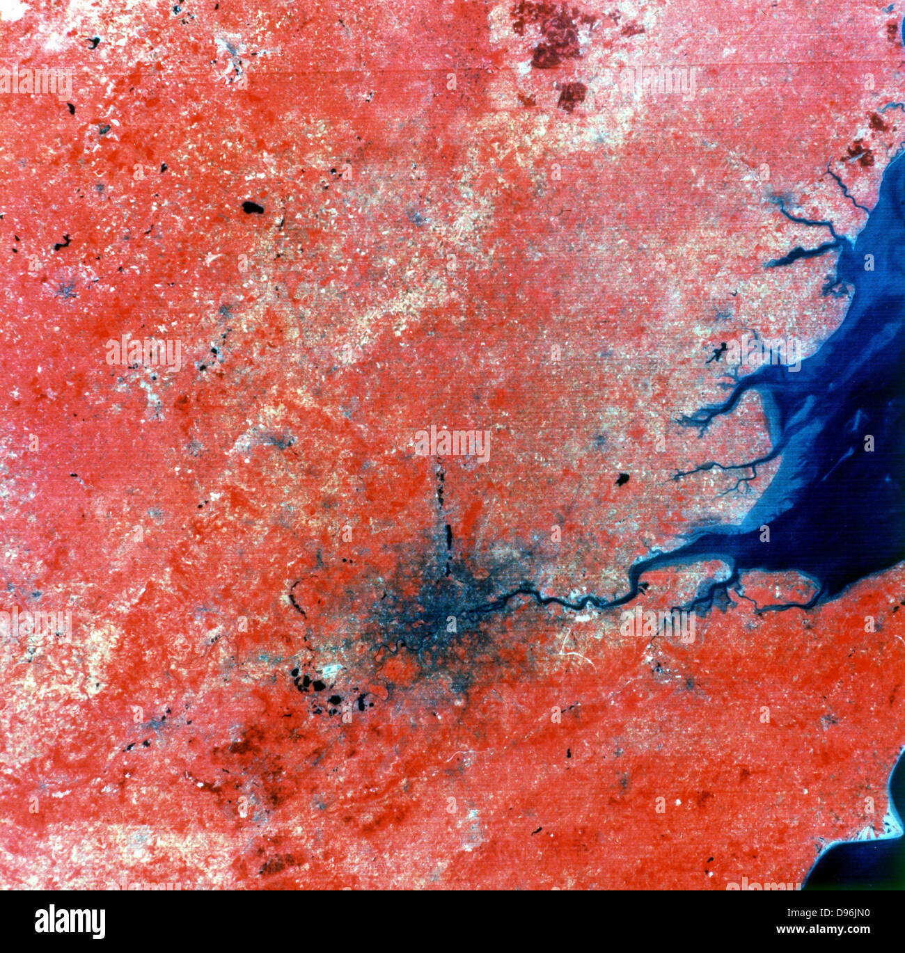 Composite photo of London taken by Landsat 2 from 905 km (560 miles). Green, red and infrared recorded separately, - Stock Image