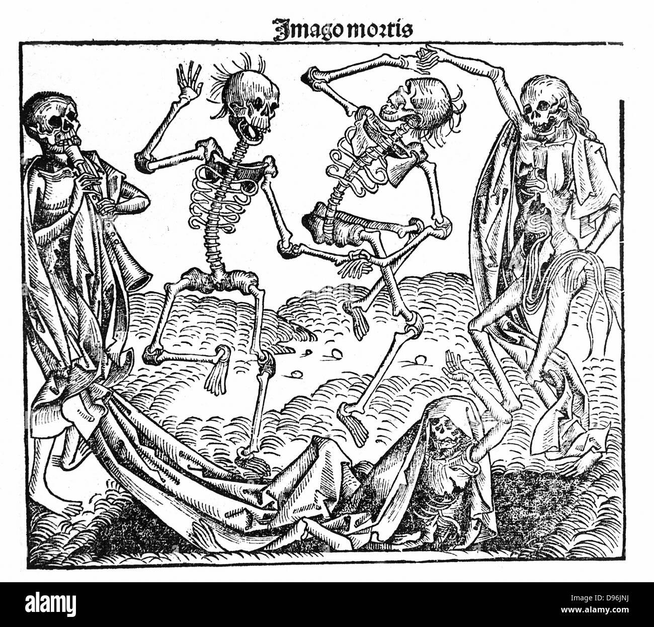Death triumphant. From Hartmann Schedel 'Liber chronicarum mundi' (Nuremberg Chronicle), 1493. Skeletons - Stock Image