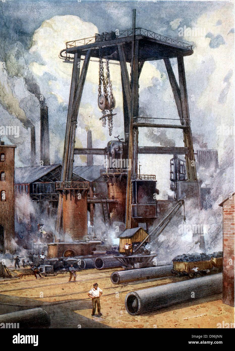 Steel works c1925. Illustration. - Stock Image