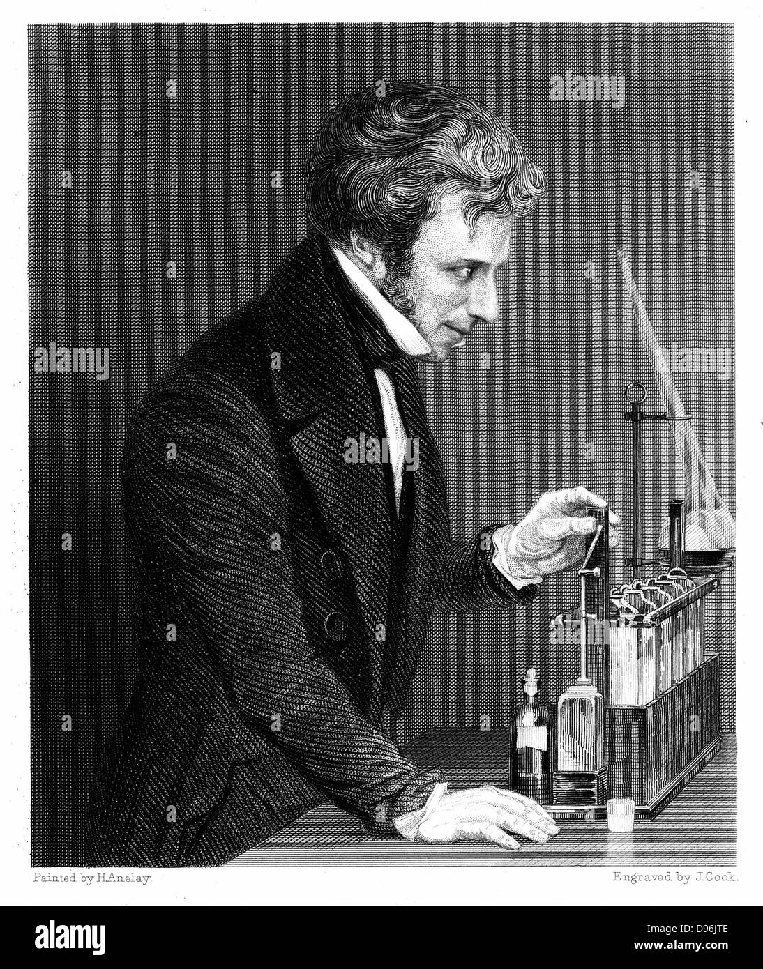 Michael Faraday (1791-1867) British chemist and physicist c1845.  Engraving - Stock Image