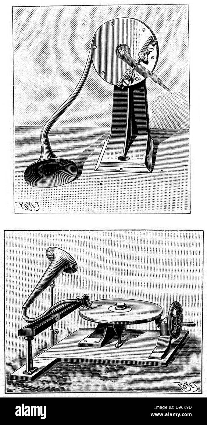 Emil Berliner's Gramophone. Top: Recording stylus and mouthpiece. Bottom: Playing a disc. Engraving published - Stock Image