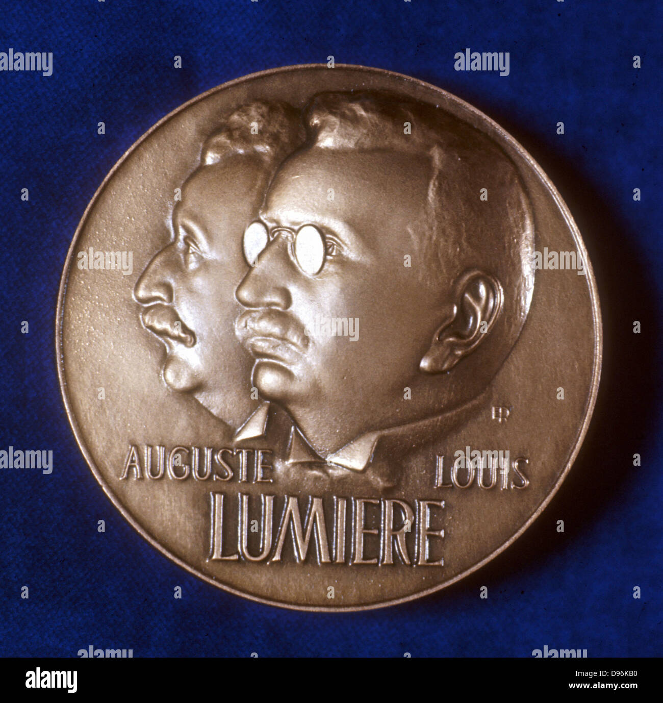 August (1862-1954) and Louis (1864-1948) Lumiere  French chemists and pioneers of cinematography. Obverse of medal - Stock Image