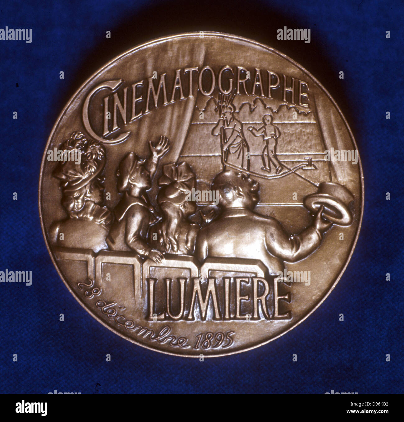 August (1862-1954) and Louis (1864-1948) Lumiere. French chemists and pioneers of cinematography. Reverse of medal - Stock Image