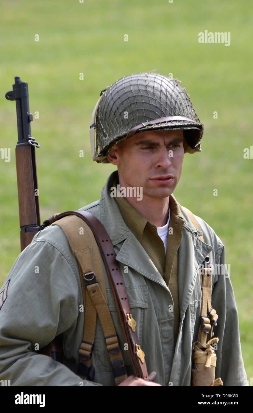 Portrait of a US soldier during WWII reenactment in Glendale, Maryland - Stock Image