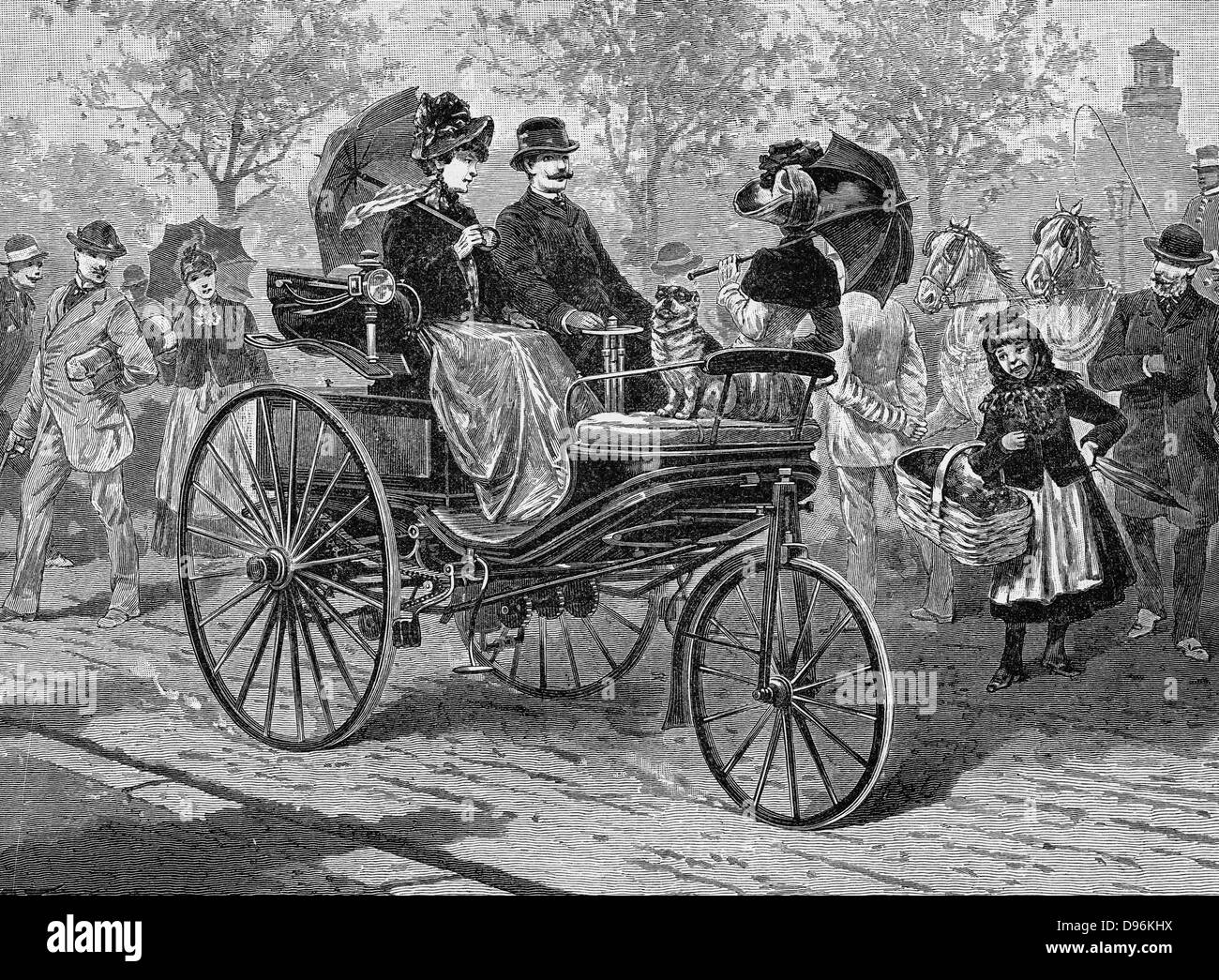 Petrol-driven car by Benz & Co., capable of 16 km per hour. Engraving published Leipzig c1895. - Stock Image