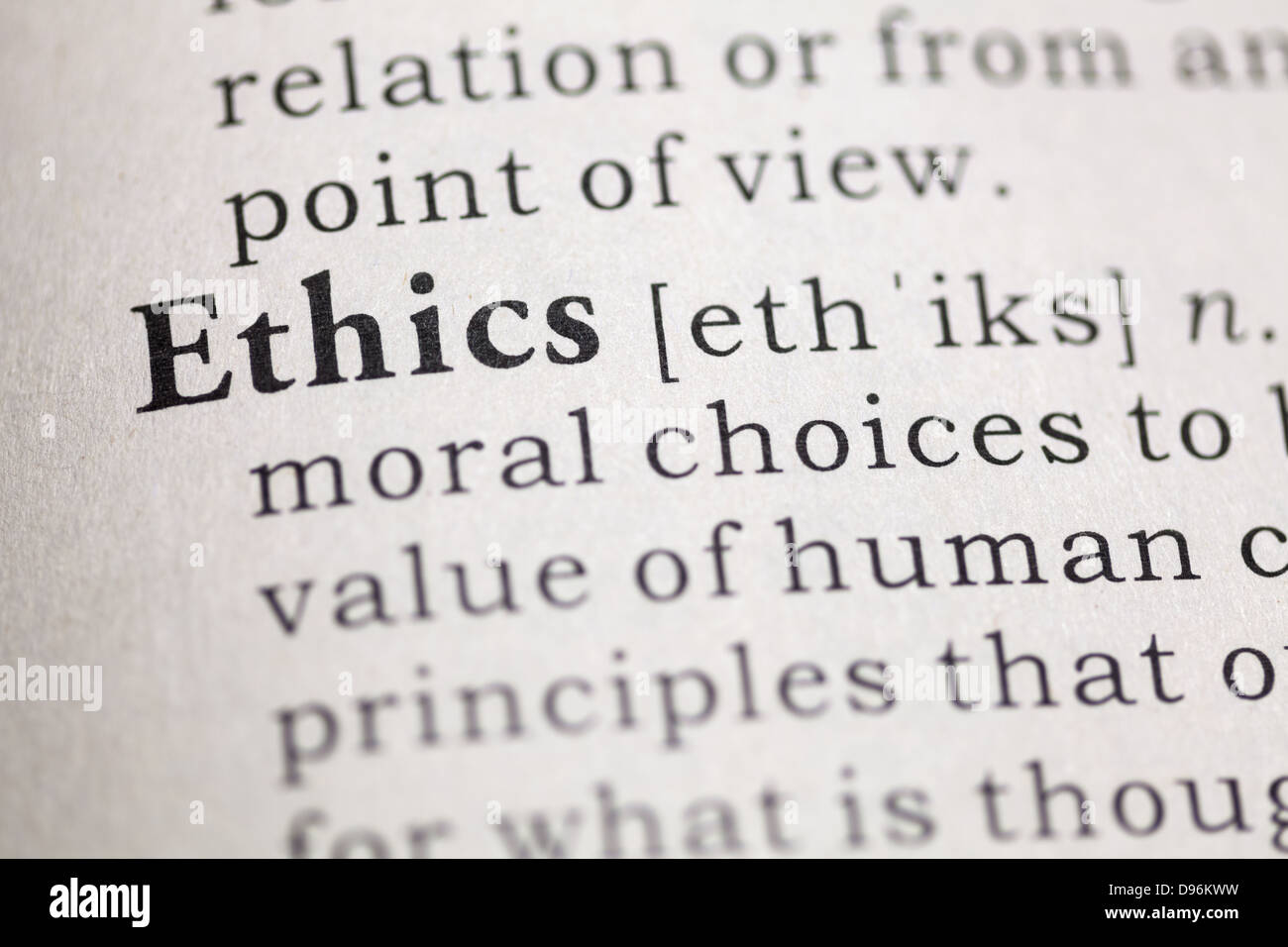 Dictionary definition of the word Ethics. - Stock Image