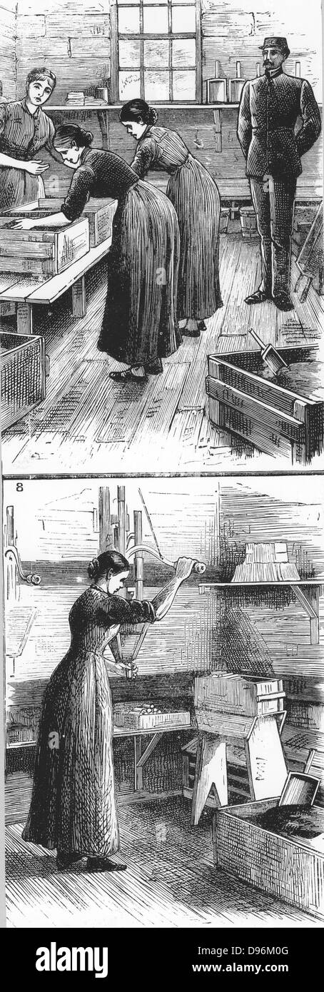 Nobel Explosives Company Limited, Ardeer, Ayrshire.   Top: Mixing house, with women rubbing Dynamite. Bottom: Woman - Stock Image