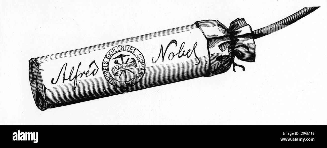 Nobel Explosives Company Limited, Ardeer, Ayrshire. Cartridge packed with Dynamite made at the factory.  From 'The - Stock Image