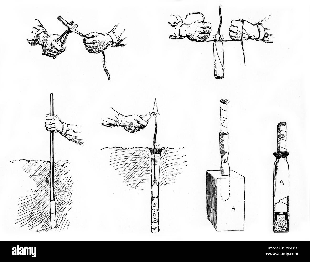 Method of preparing and setting a Dynamite charge.  From 'La Science Illustree', Paris, c. 1890 - Stock Image