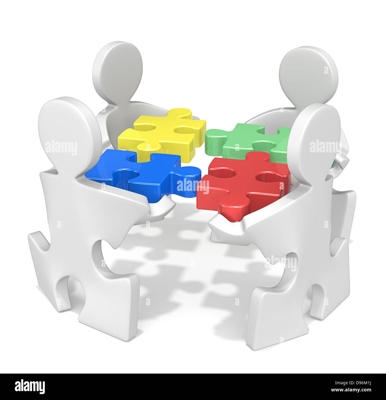 Puzzle People X 4 Holding Puzzle Pieces Red Green Yellow And Blue