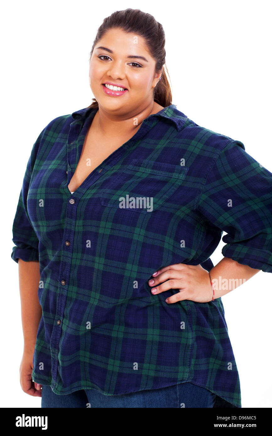 portrait of happy overweight teenage girl close up - Stock Image