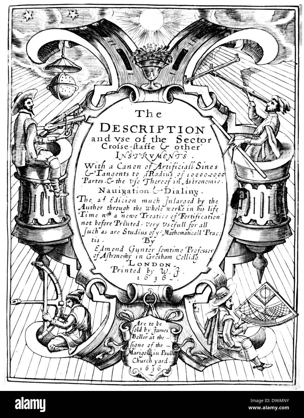 Title page of Edmund Gunter (1581-1626) 'The Description and Use of the Sector', London, 1636 (1st edition - Stock Image