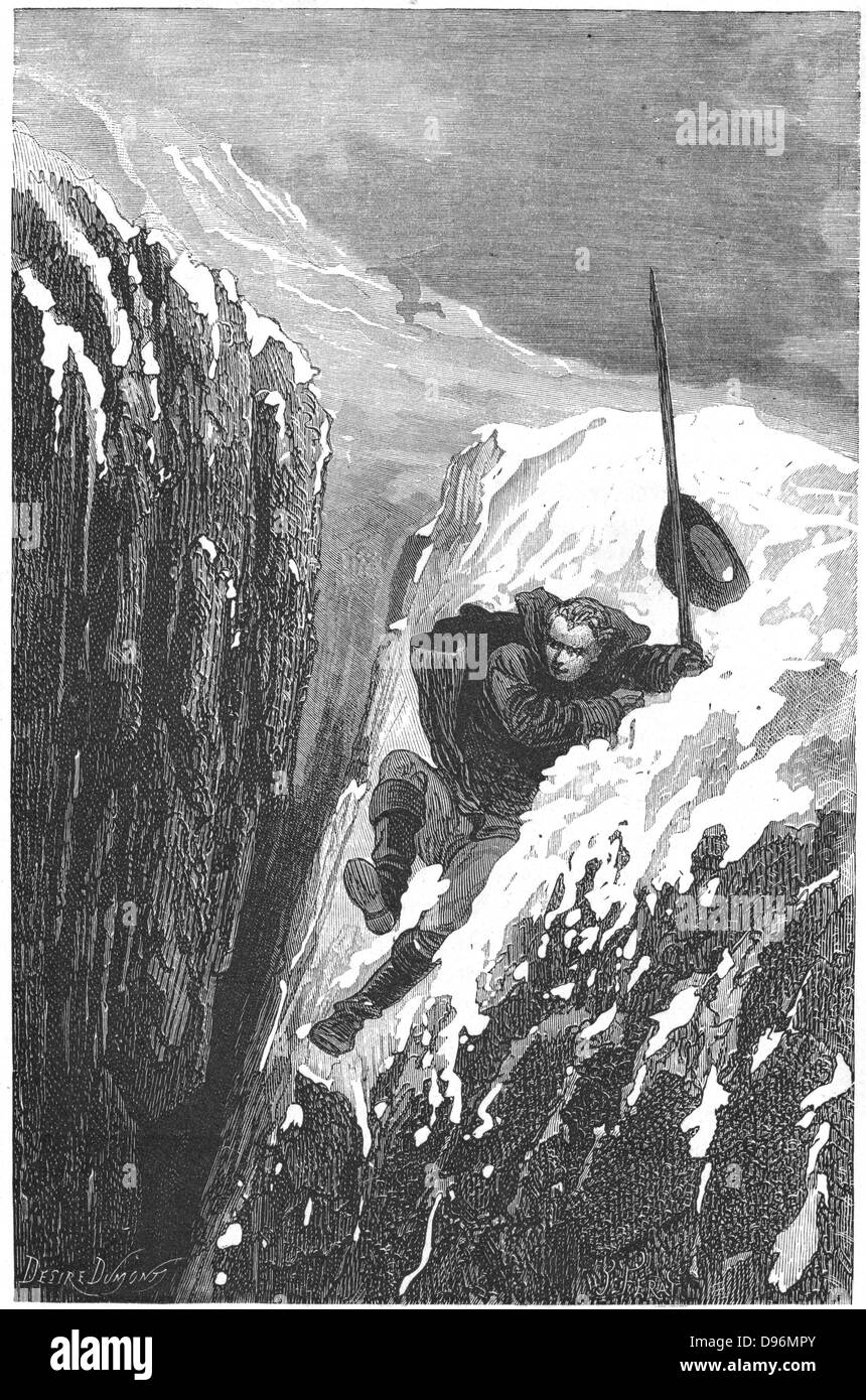 Linnaeus (Carl von Linne -1707-1778). Swedish scientist and naturalist nearly losing his life falling into a crevasse. Engraving published Paris 1874 Stock Photo