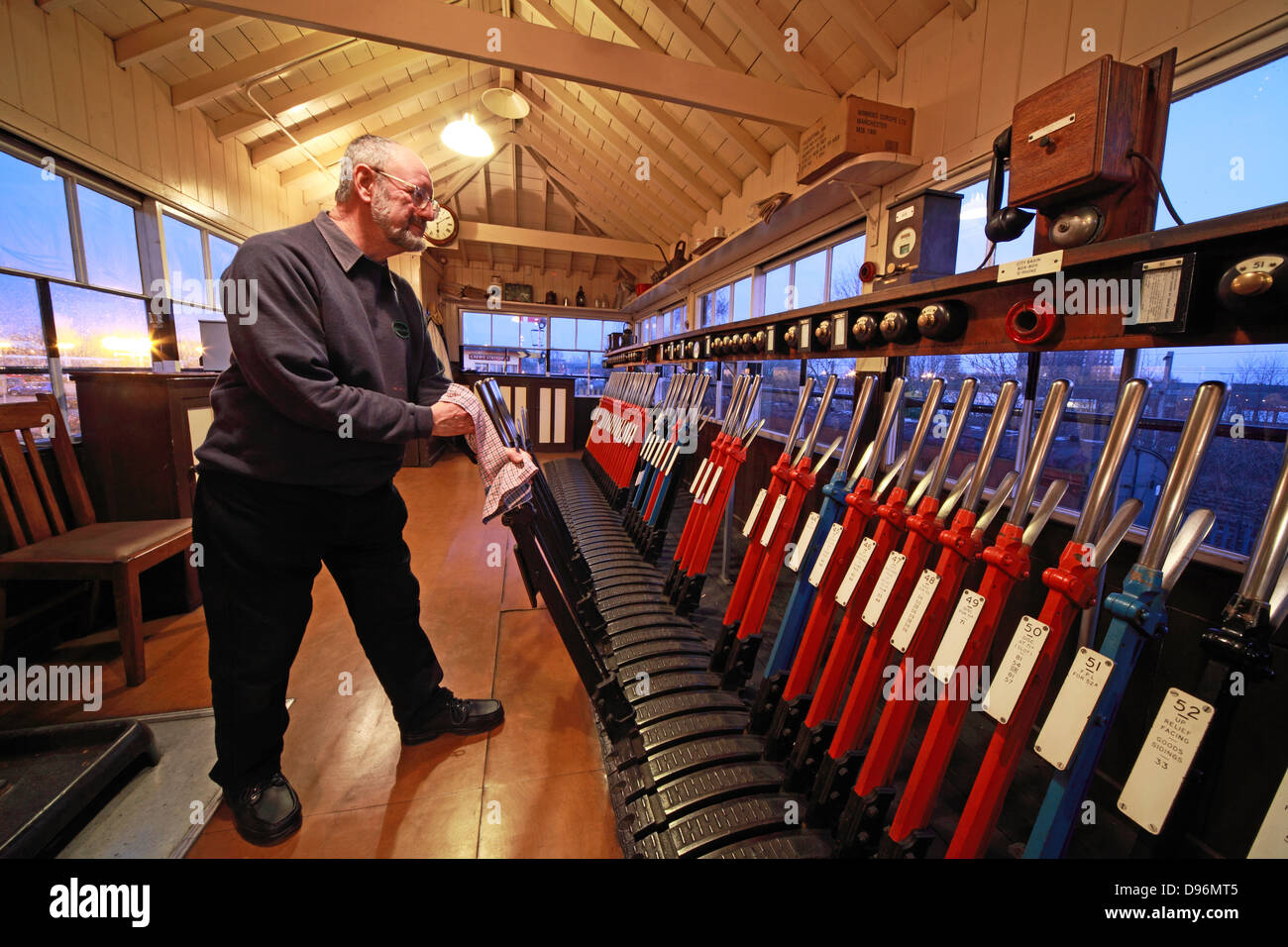 Evening with the levers in the signalbox, Crewe, - Stock Image