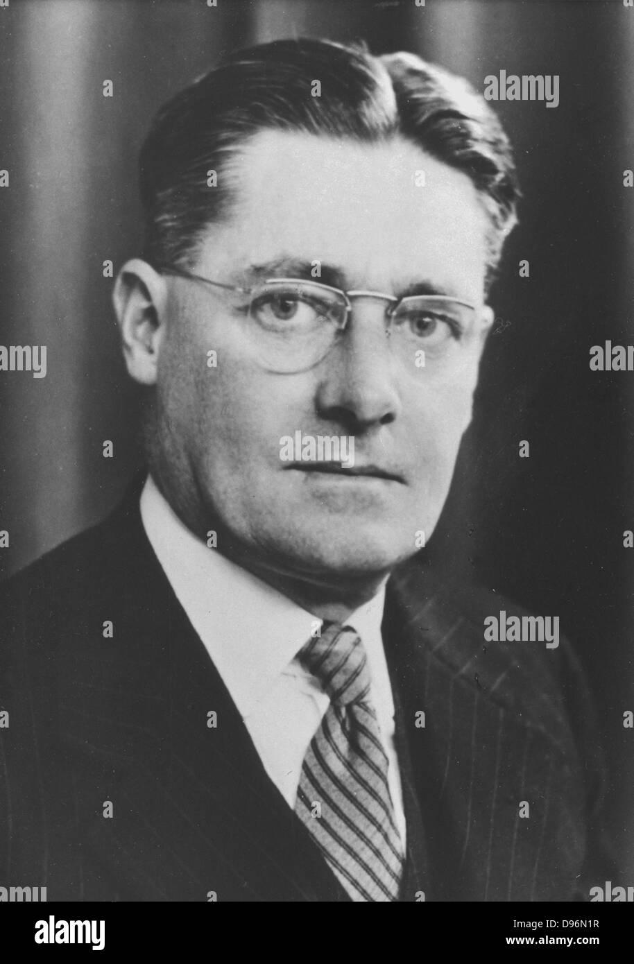 Howard Walter Florey (1898-1968) Australian pathologist: isolation and purification of Penicillin.  Shared Nobel - Stock Image