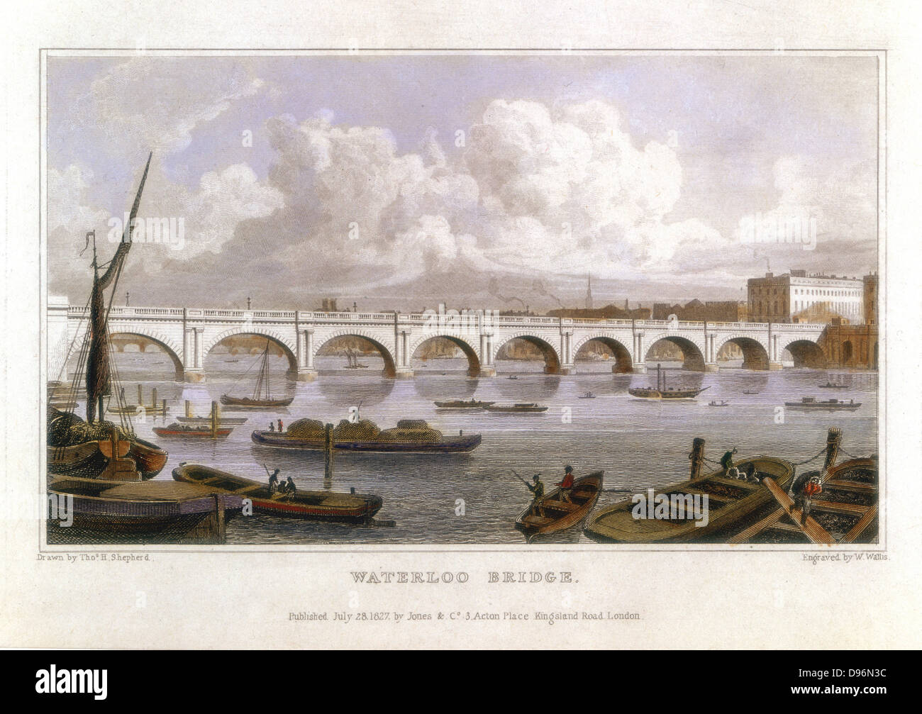 Waterloo Bridge, London, across the Thames. Built by John Rennie (1761-1821) between 1811 and 1817. Coffer dams Stock Photo