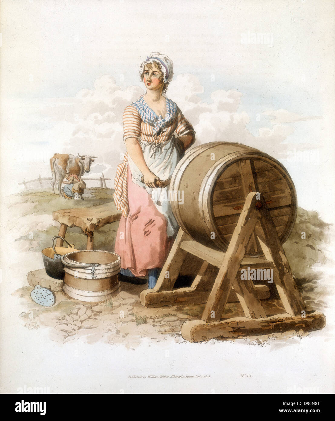 Women making butter. Wooden churn, pail, form, etc. From William Henry Pyne 'Costume of Great Britain', - Stock Image
